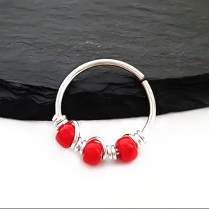 Moodtherapy Jewelry - Red Beaded Cartilage Hoop Earring Nose Ring